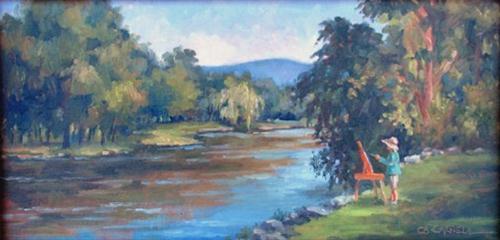 """PLEIN AIR PAINTING ALONG THE CONODOGUINET An Original Plein Air Oil Painting by Claire Beadon Carnel"" original fine art by Claire Beadon Carnell"