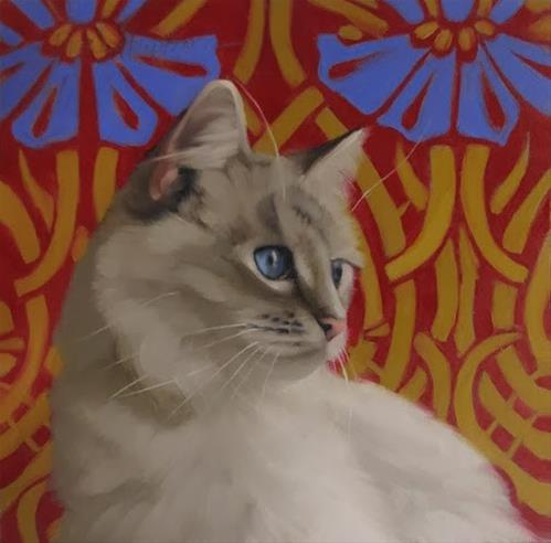 """Blue Eyed Cat on art nouveau pattern"" original fine art by Diane Hoeptner"