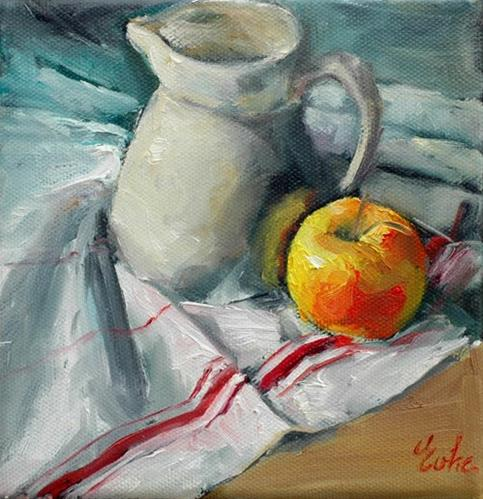 """Une pomme et sa cruche"" original fine art by Evelyne Heimburger Evhe"