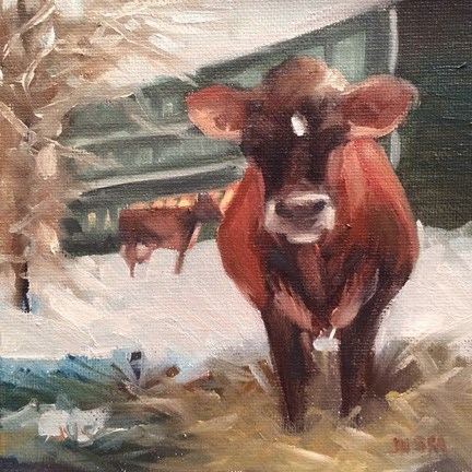 """Cows in the Snow"" original fine art by Elaine Juska Joseph"