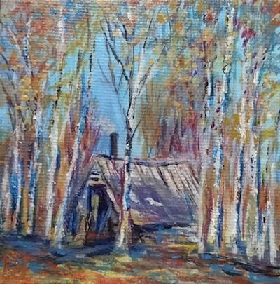 """4130 - Cabin the the Woods -Mini Master Series"" original fine art by Sea Dean"