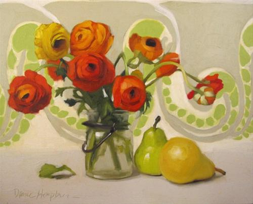 """""""Art Nouveau Floral before and after fixing"""" original fine art by Diane Hoeptner"""