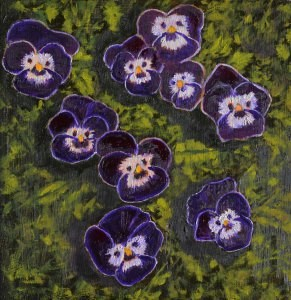 """Purple Pansies"" original fine art by Robert Frankis"