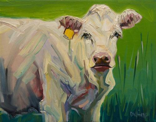 """ARTOUTWEST COW ART OIL PAINTING DIANE WHITEHEAD"" original fine art by Diane Whitehead"
