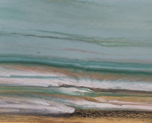 """Contemporary Abstract Seascape ,Beach Art Painting Day at the Gulf Study #9 by Colorado Contempora"" original fine art by Kimberly Conrad"