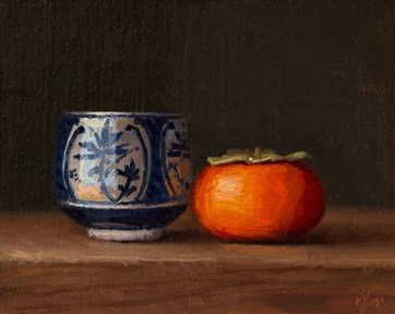 """Blue & White Cup with a Persimmon"" original fine art by Abbey Ryan"