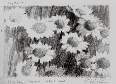 """Sketch 10-Daisy Day"" original fine art by V.... Vaughan"