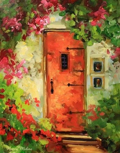 """The Orange Door by Texas Artist Nancy Medina"" original fine art by Nancy Medina"