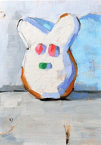 """""""Easter Bunny Donut Painting"""" original fine art by Kevin Inman"""