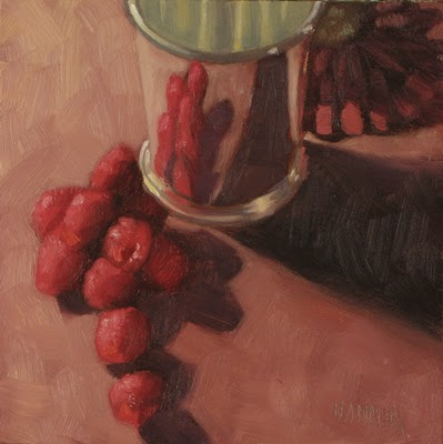 """Raspberry Julep 6x6  oil"" original fine art by Claudia Hammer"