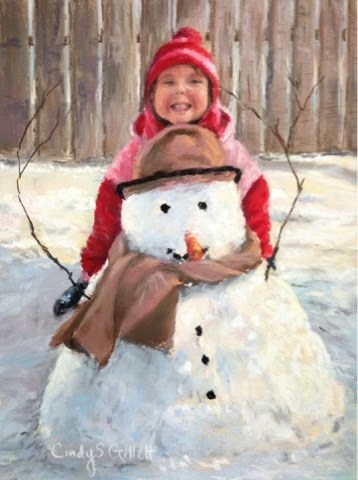 """Say Cheese Frosty...Say CHEEZZZZE!"" original fine art by Cindy Gillett"