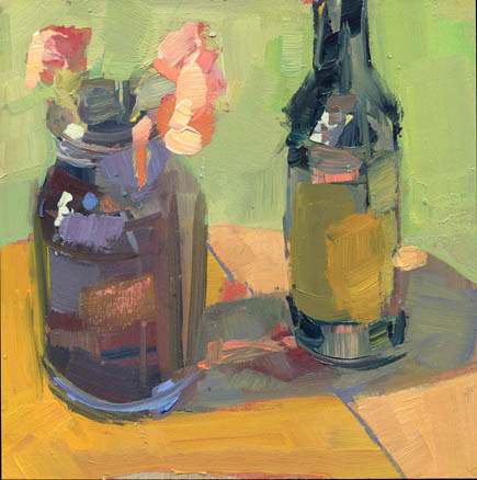"""Purple Jar and Olive Oil #871"" original fine art by Lisa Daria"