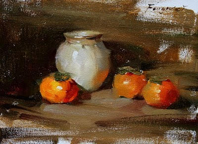 """Small Still Life (persimmons)"" original fine art by Fongwei Liu"