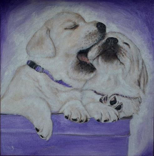 """Labrador retriever, puppies painting, "" original fine art by Sun Sohovich"