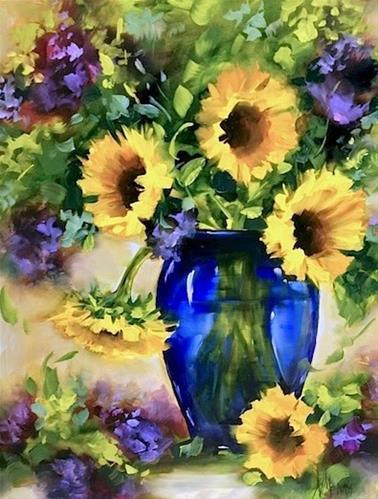 """SOLD ~ Sunflower Jubilee and a North Texas Workshop by Nancy Medina"" original fine art by Nancy Medina"
