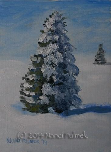 """30 mph winds and snow"" original fine art by Nanci Fulmek"