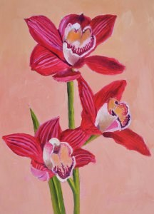 """Crimson Orchids"" original fine art by Robert Frankis"