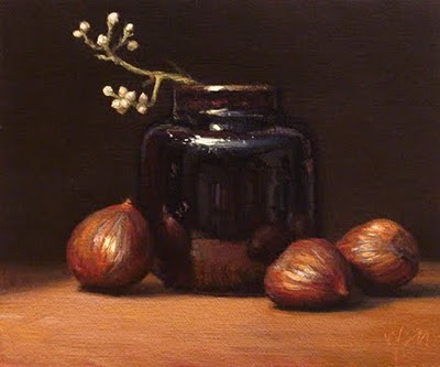 """Still Life with Mistletoe & Chestnuts"" original fine art by Abbey Ryan"