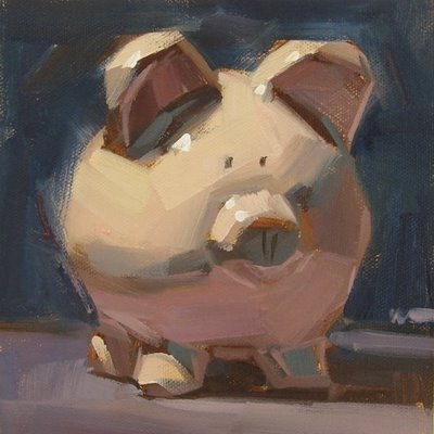 """Piggy Bank & the last photo from Canada --- SOLD"" original fine art by Carol Marine"