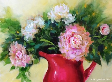 """Pink Halo Peonies - Flower Paintings by Nancy Medina"" original fine art by Nancy Medina"