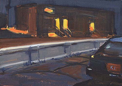 """Nocturne, Georgia Street Bridge"" original fine art by Kevin Inman"