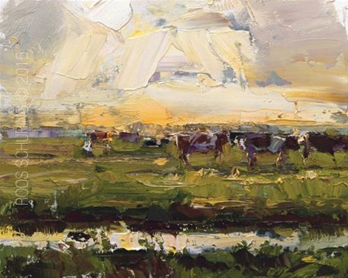 """""""Landscape Sunset and Cows (sold)"""" original fine art by Roos Schuring"""