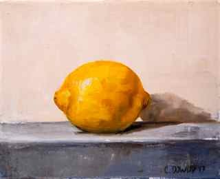"""Lemon on Gray"" original fine art by Christina Dowdy"