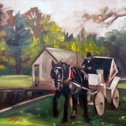 """White Carriage"" original fine art by Elaine Juska Joseph"