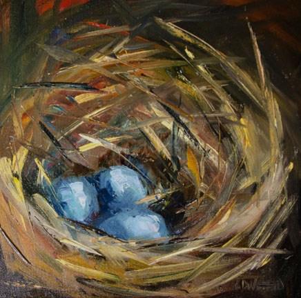 """EGG NEST ART OIL PAINTING ROBIN BLUE DIANE WHITEHEAD"" original fine art by Diane Whitehead"