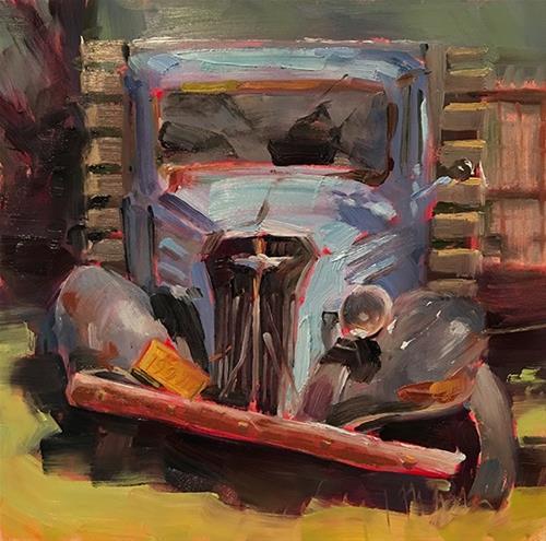 """Old Blue"" original fine art by Deborah Newman"