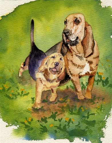 """""""Debbie's Dogs"""" original fine art by Michelle Wolfe"""