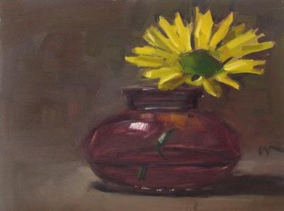 """Yellow in Pink"" original fine art by Carol Marine"