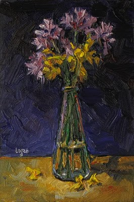 """Flowers in Glass Vase"" original fine art by Raymond Logan"