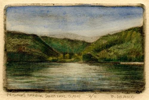 """Drypoint #printmaking: Prisoner's Harbor, Santa Cruz Island #channelislands"" original fine art by Belinda Del Pesco"