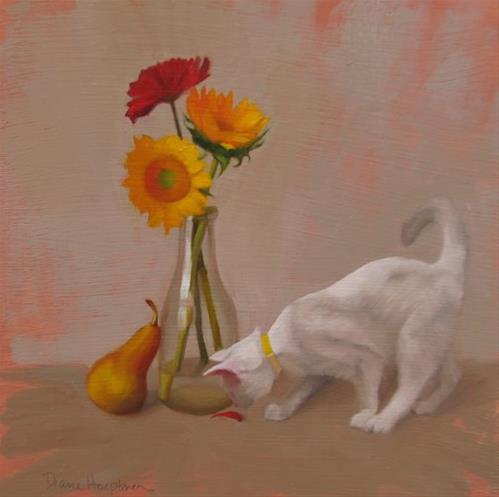 """Inquisition, inquisitive white cat meets floral still life"" original fine art by Diane Hoeptner"