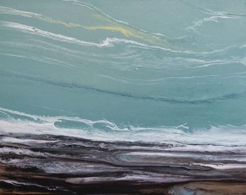 """Abstract Seascape,Coastal Living Decor,Beach Art The Arrival V by Colorado Contemporary Artist Kim"" original fine art by Kimberly Conrad"