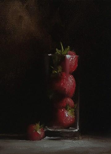 """""""Strawberries in Glass"""" original fine art by Neil Carroll"""