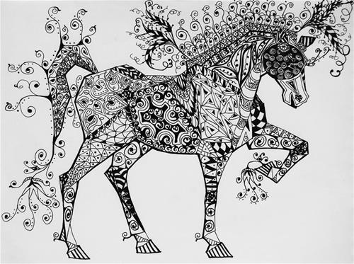 """Framed - Circus Horse"" original fine art by Jani Freimann"