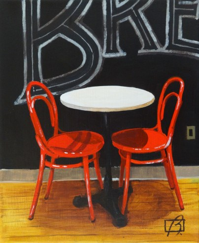 """Cafe Chairs"" original fine art by Andre Beaulieu"
