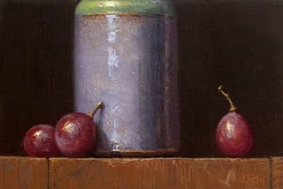 """Light Blue Bottle with Grapes"" original fine art by Abbey Ryan"