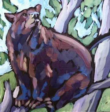 """Nosey Bear"" original fine art by Kat Corrigan"