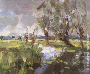 """""Willows reflected and Light – Dutch Landscape"""" original fine art by Roos Schuring"