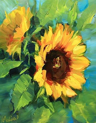 """SOLD ~ Warm Thoughts Sunflowers and a Painting Giveaway by Texas Artist Nancy Medina"" original fine art by Nancy Medina"