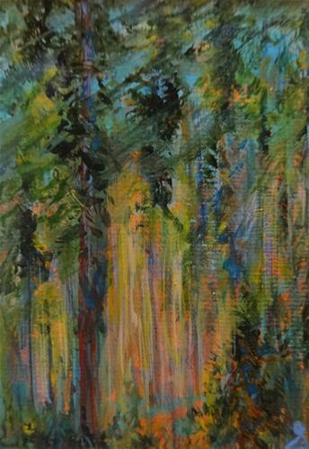"""3094 - Matted - DEEP IN THE FOREST - ACEO Series"" original fine art by Sea Dean"