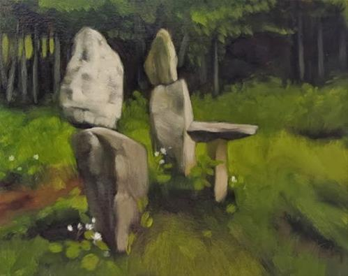 """The Family painting of rock sculpture"" original fine art by Diane Hoeptner"