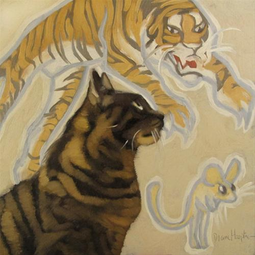 """Alter Ego kitty dreams of tiger chasing mouse"" original fine art by Diane Hoeptner"