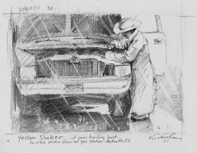 """Yellow Slicker_cowboy, Pick-up truck, rain, yellow slicker"" original fine art by V.... Vaughan"