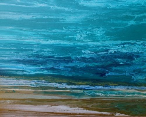 """Contemporary Beach Art, Abstract Seascape Painting, Coastal Art In Motion IV by International Cont"" original fine art by Kimberly Conrad"