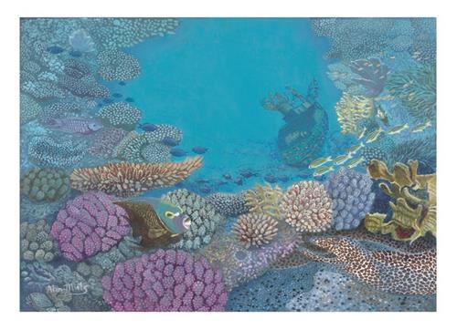 """Coral Boat"" original fine art by Alan Mintz"