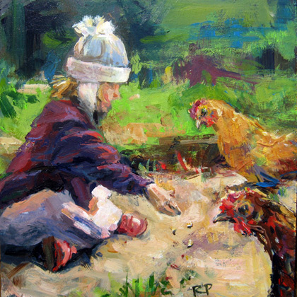 """Feeding the Hens"" original fine art by Robin Peterson"